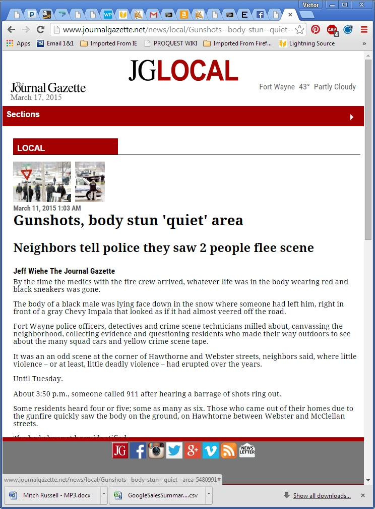 Gunshots, body stun 'quiet' area