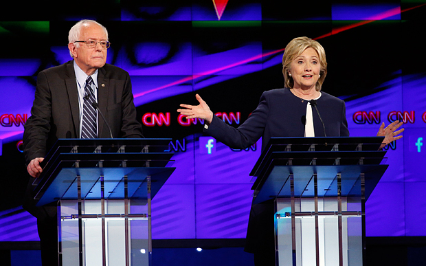 Senator Bernie Sanders and Hillary Clinton during the CNN Democratic presidential debate in Las Vegas